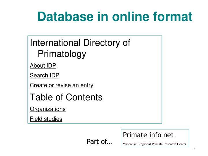 Database in online format