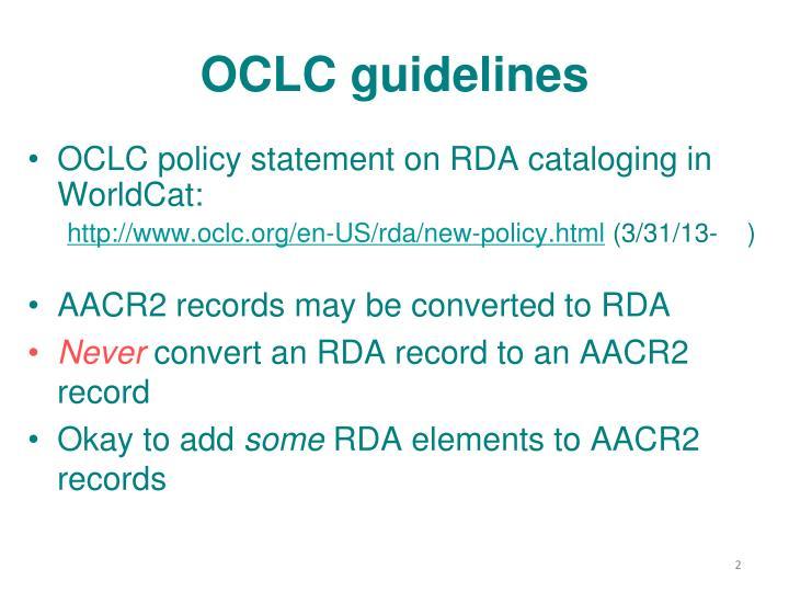 Oclc guidelines