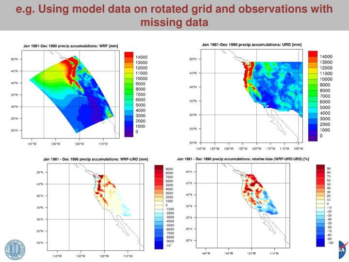 e.g. Using model data on rotated grid and observations with missing data