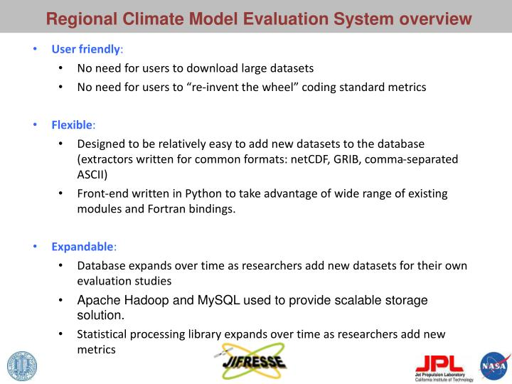 Regional Climate Model Evaluation System overview