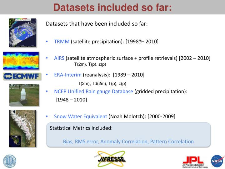Datasets included so far:
