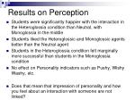 results on perception