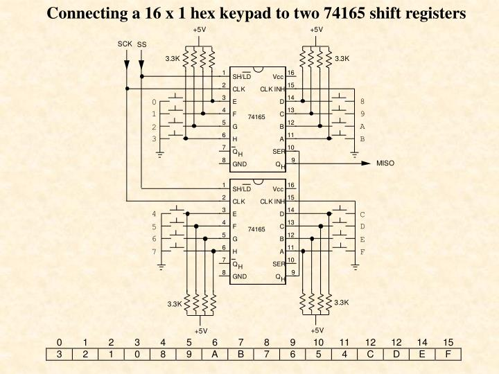 Connecting a 16 x 1 hex keypad to two 74165 shift registers