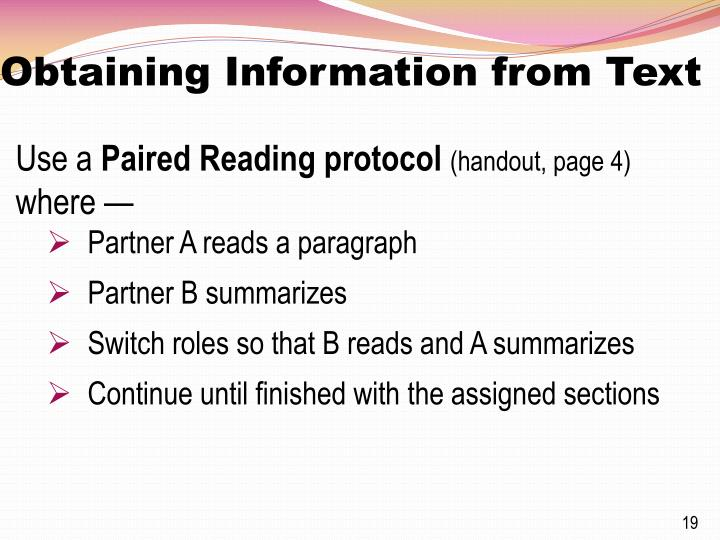 Obtaining Information from Text
