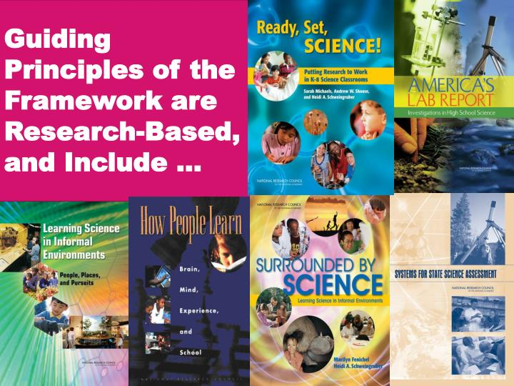 Guiding Principles of the Framework are Research-Based, and Include …