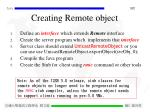 creating remote object