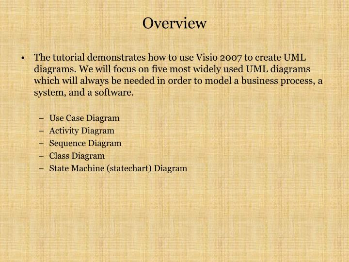 Ppt visio 2007 for uml tutorial powerpoint presentation id5671807 the tutorial demonstrates how to use visio 2007 to create uml diagrams we will focus on five most widely used uml diagrams which will always be needed in ccuart