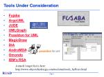 tools under consideration