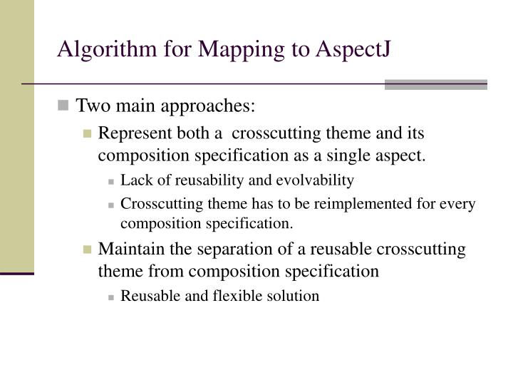 Algorithm for Mapping to AspectJ