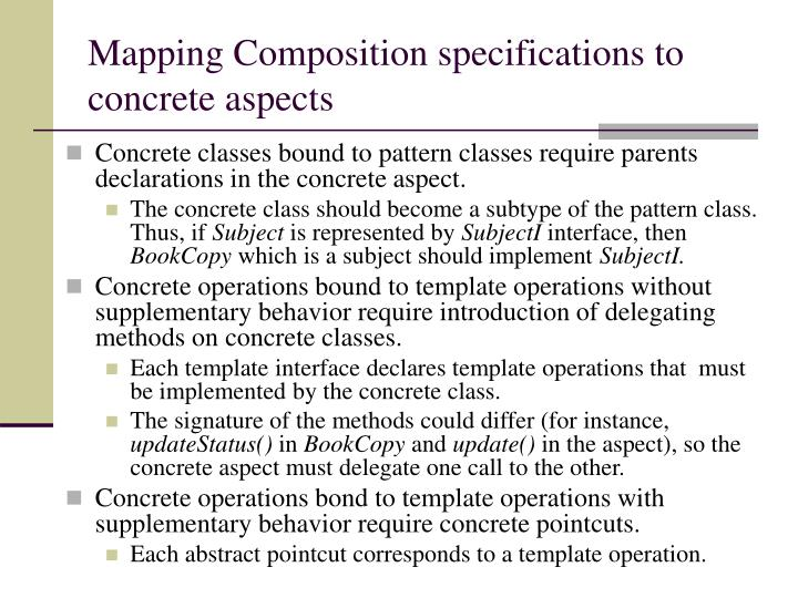 Mapping Composition specifications to concrete aspects