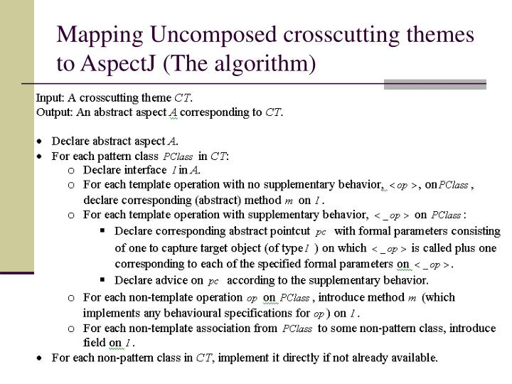 Mapping Uncomposed crosscutting themes to AspectJ (The algorithm)
