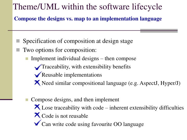 Theme/UML within the software lifecycle