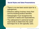 social styles and sales presentations