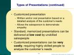 types of presentations continued