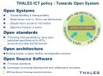 thales ict policy towards open system