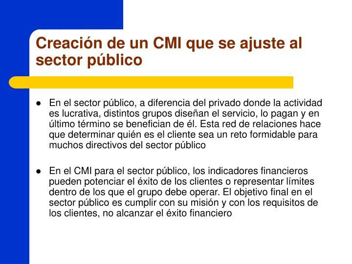 Creación de un CMI que se ajuste al sector público