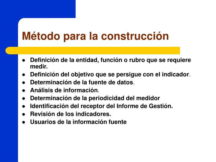 Método para la construcción