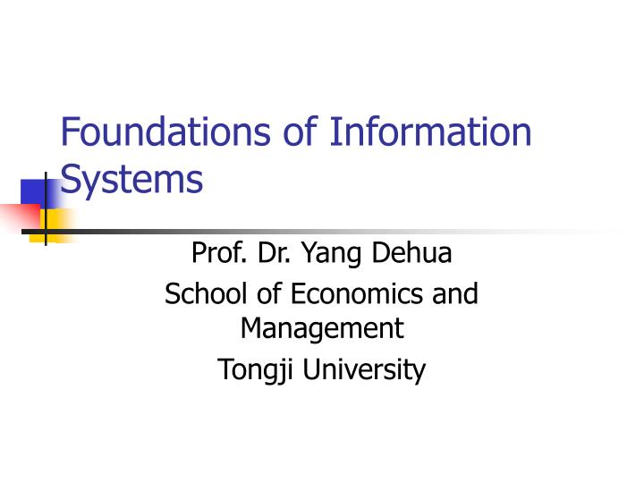 foundations of information systems n.