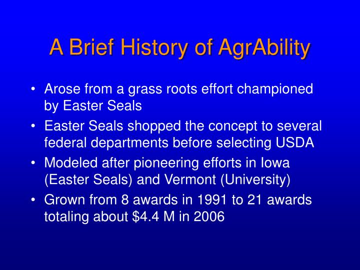 A Brief History of AgrAbility