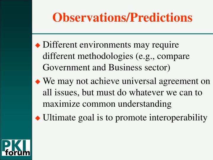 Observations/Predictions