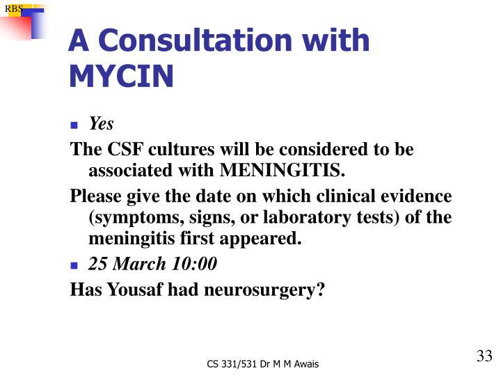 A Consultation with MYCIN