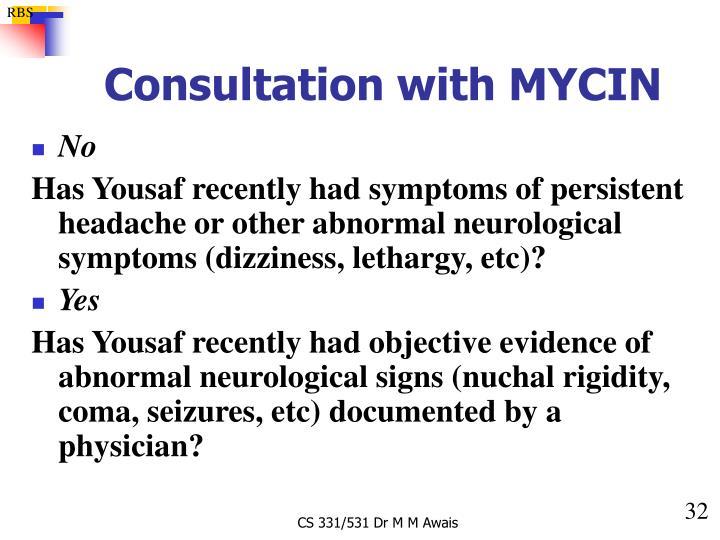Consultation with MYCIN
