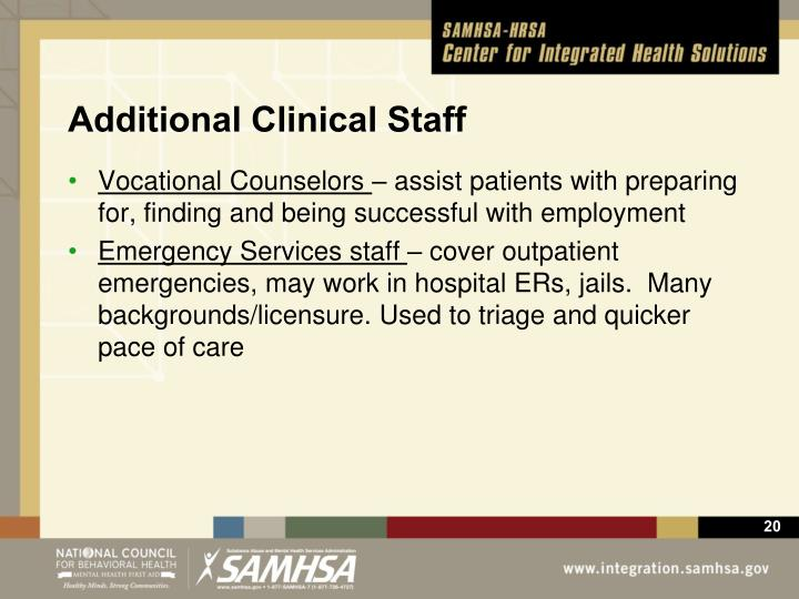 Additional Clinical Staff