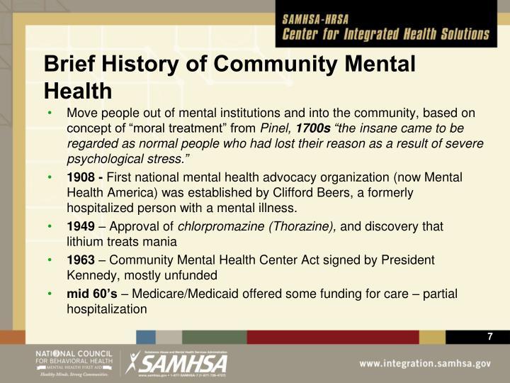 Brief History of Community Mental Health