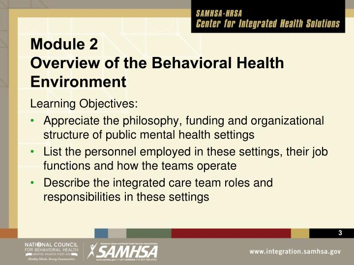 Module 2 overview of the behavioral health environment