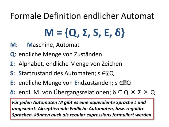 Formale Definition endlicher Automat