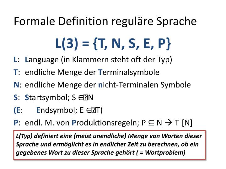 Formale Definition reguläre Sprache