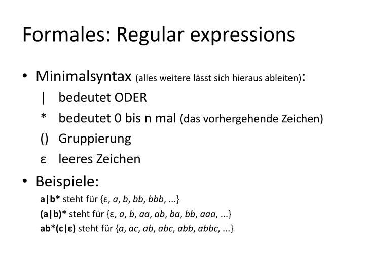 Formales: Regular expressions