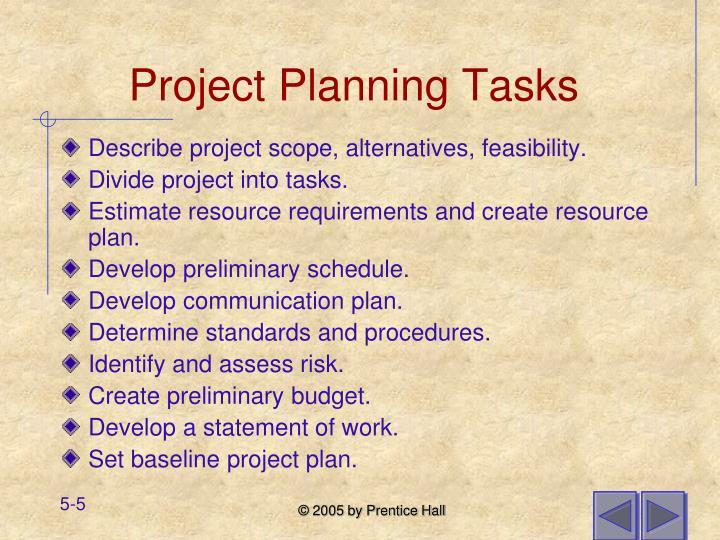 Project Planning Tasks