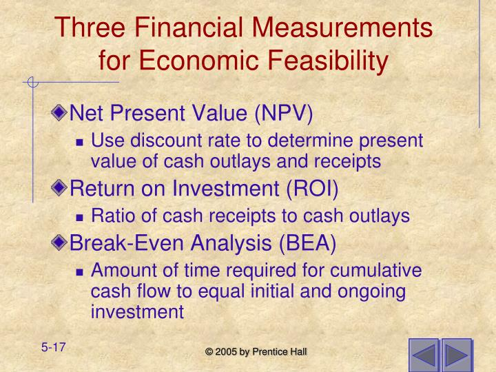 Three Financial Measurements for Economic Feasibility