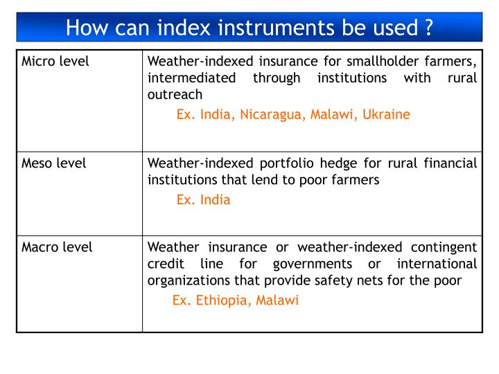 How can index instruments be used ?
