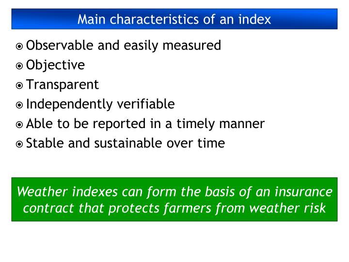 Main characteristics of an index