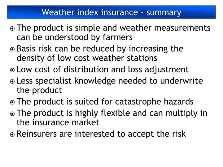 Weather index insurance - summary