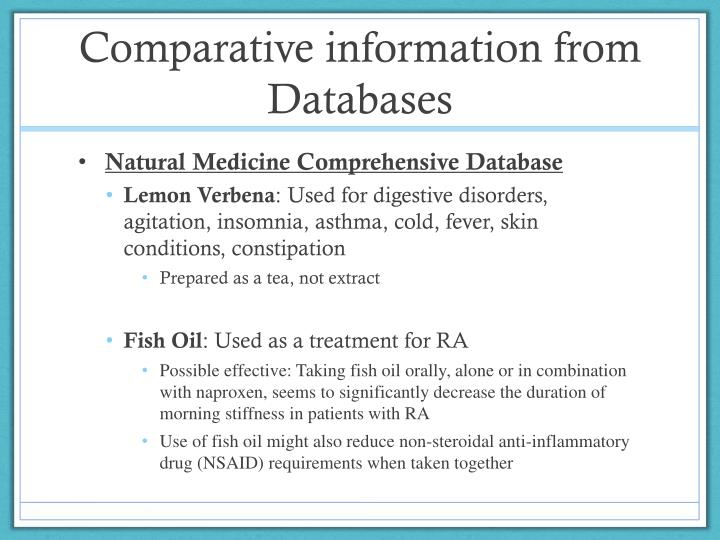 Comparative information from Databases