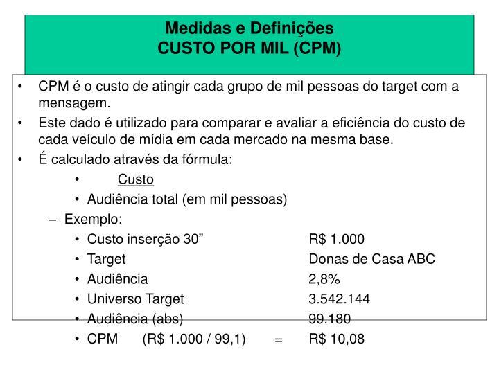 CPM é o custo de atingir cada grupo de mil pessoas do target com a mensagem.