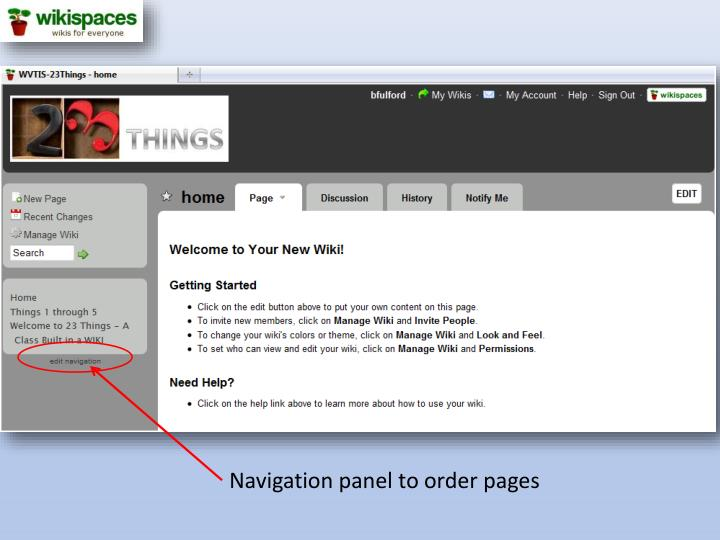 Navigation panel to order pages
