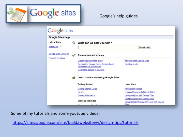 Google's help guides