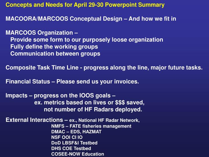 Concepts and Needs for April 29-30 Powerpoint Summary