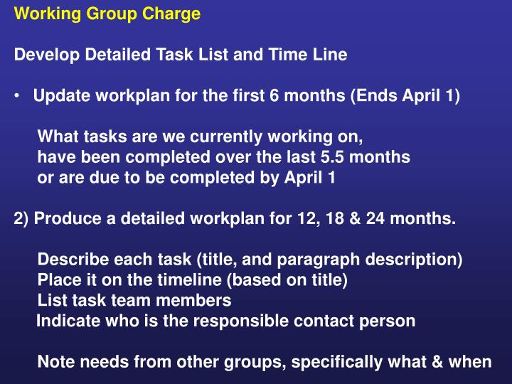 Working Group Charge
