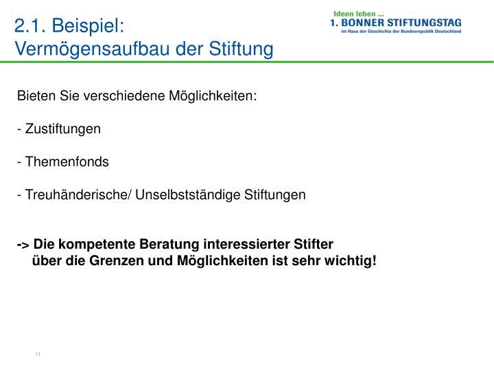 2.1. Beispiel:                            Vermögensaufbau der Stiftung