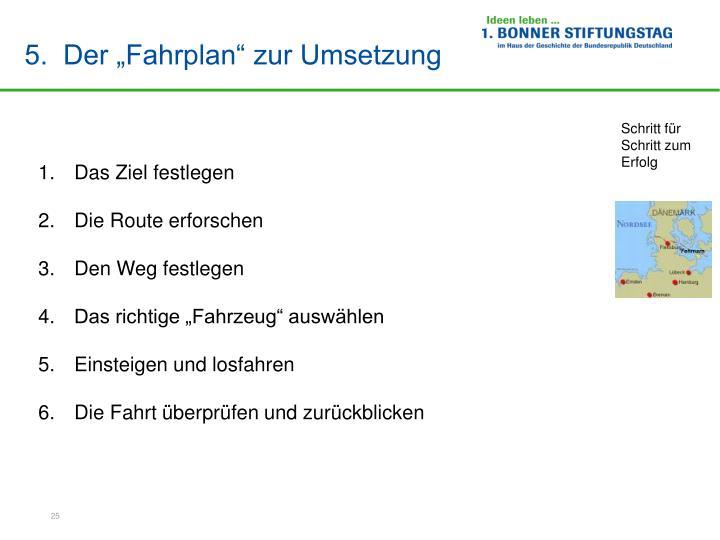 """5.  Der """"Fahrplan"""" zur Umsetzung"""