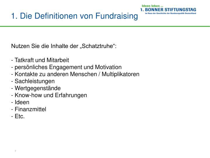 1. Die Definitionen von Fundraising
