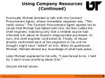 using company resources continued