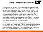 using company resources