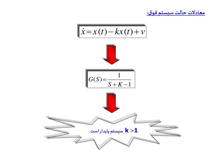 معادلات حالت سيستم فوق: