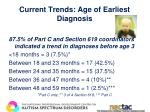 current trends age of earliest diagnosis